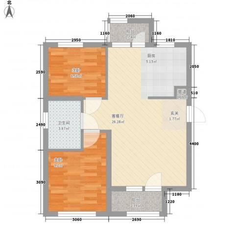 「大连天地」悦翠台Style2室1厅1卫0厨80.00㎡户型图