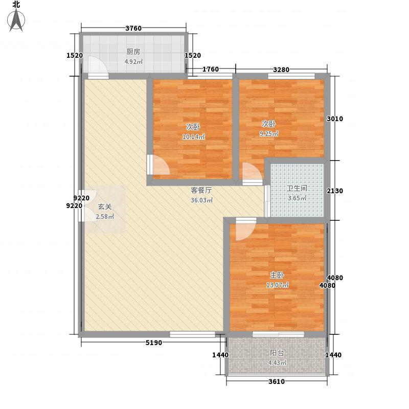 景泰花苑115.30㎡C户型3室2厅1卫1厨