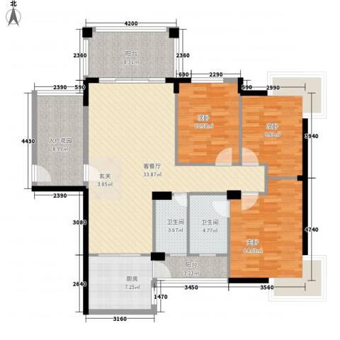 江南豪苑3室1厅2卫1厨124.00㎡户型图