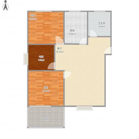 重庆公馆3室1厅1卫1厨128.00㎡户型图