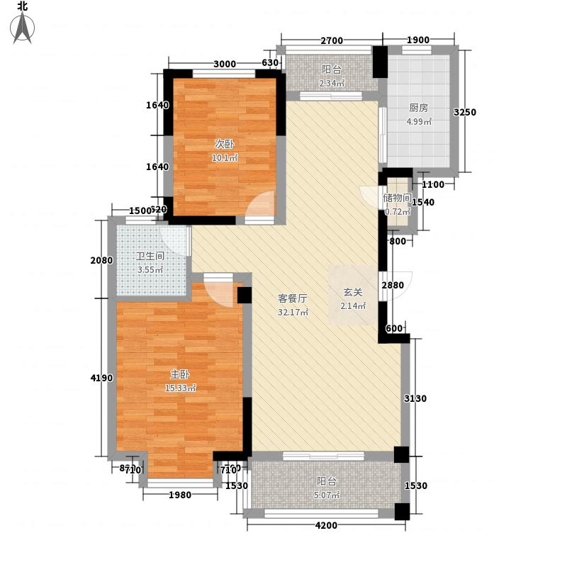 东方佳园B-6户型2室2厅1卫