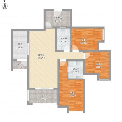 福康瑞琪曼国际社区3室1厅2卫1厨137.00㎡户型图
