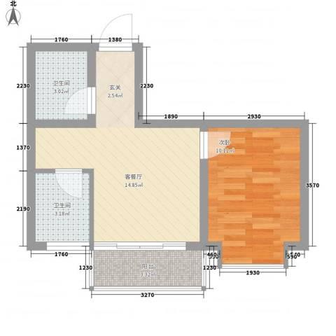 帝基江山别院1室1厅2卫0厨53.00㎡户型图