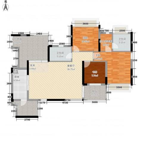 党校集资房3室1厅2卫1厨126.00㎡户型图