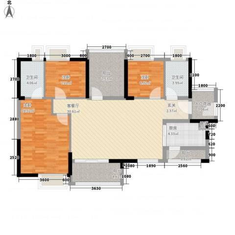 卓越东部蔚蓝海岸3室1厅2卫1厨113.00㎡户型图