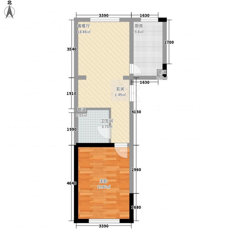 青岛东方美景63.00㎡4号楼1层2单元西户、3单元东户户型1室2厅1卫1厨