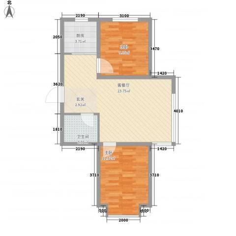 帝基江山别院2室1厅1卫1厨73.00㎡户型图