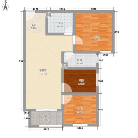 大业时代广场3室1厅1卫1厨103.00㎡户型图