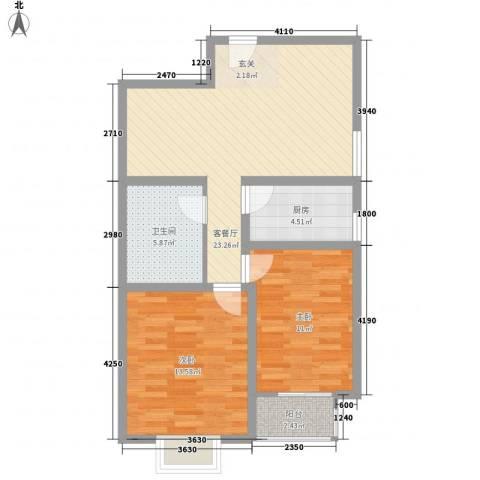 东昌盛新区2室1厅1卫1厨87.00㎡户型图