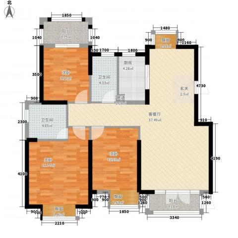 海投天湖城3室1厅2卫1厨96.07㎡户型图