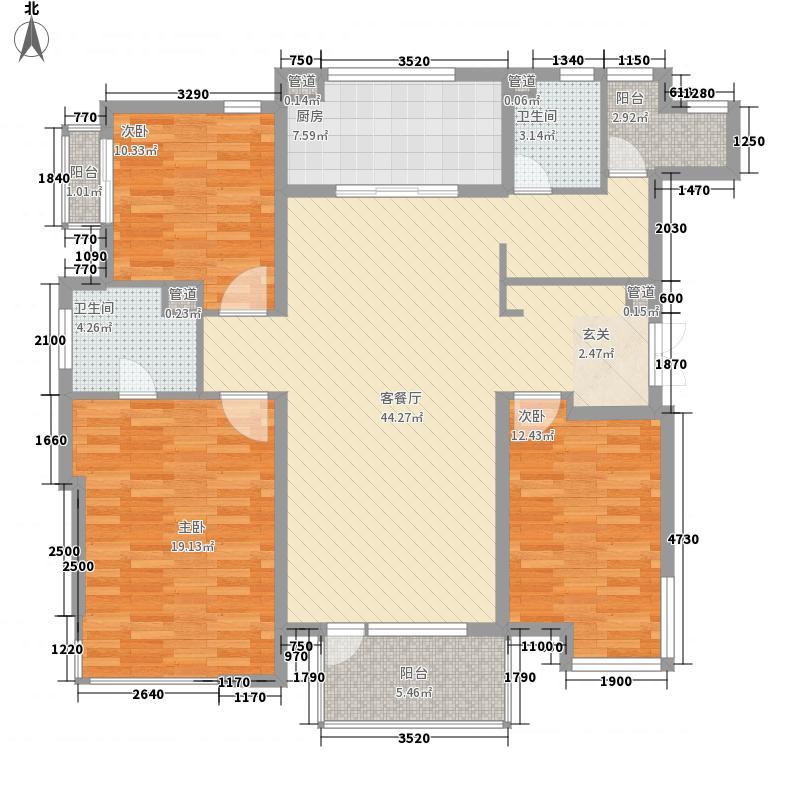盛世美域157.00㎡户型3室