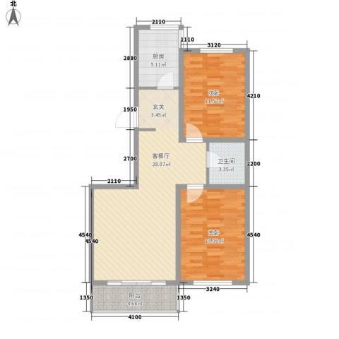 帝基江山别院2室1厅1卫1厨88.00㎡户型图