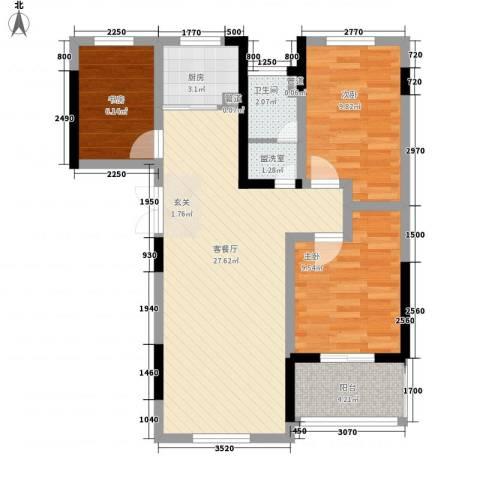 融馨苑3室2厅1卫1厨94.00㎡户型图