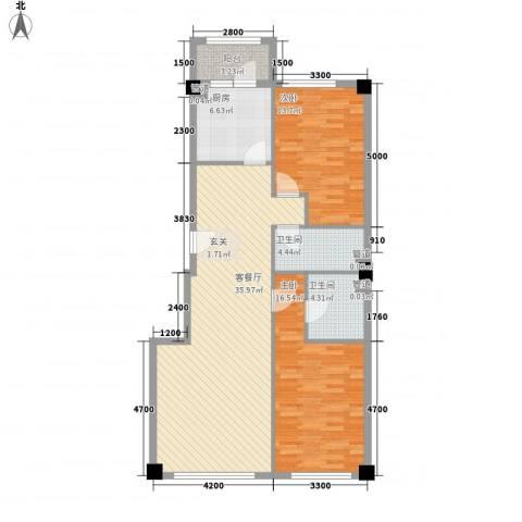 米兰D.C2室1厅2卫1厨119.00㎡户型图