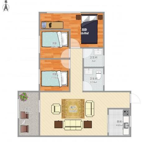 锦上花家园7088383室1厅2卫1厨107.00㎡户型图