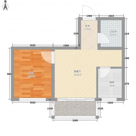帝基江山别院1室1厅1卫1厨53.00㎡户型图