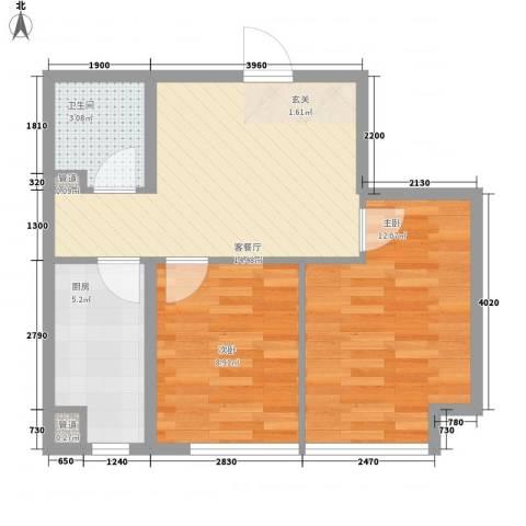 帝基江山别院2室1厅1卫1厨63.00㎡户型图