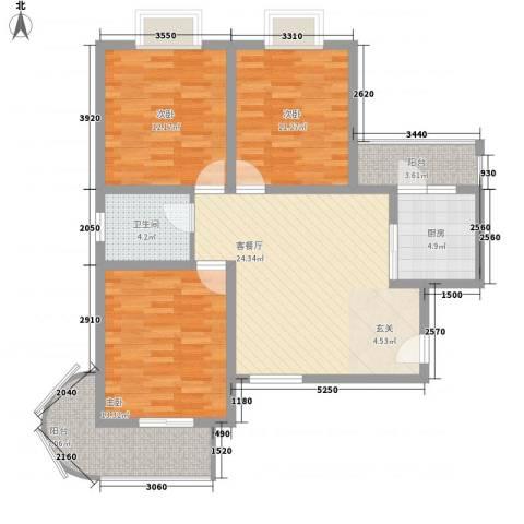 东昌盛新区3室1厅1卫1厨116.00㎡户型图