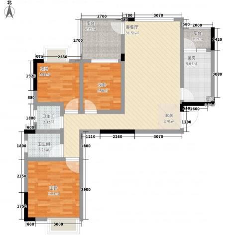 我平方3室1厅2卫1厨87.00㎡户型图