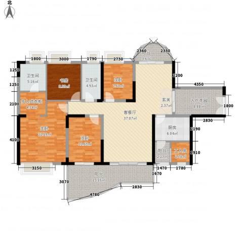 中天彩虹城4室1厅2卫1厨161.00㎡户型图