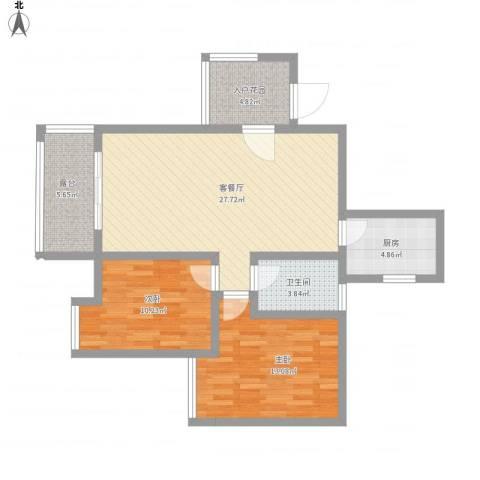 福康瑞琪曼国际社区2室1厅1卫1厨102.00㎡户型图
