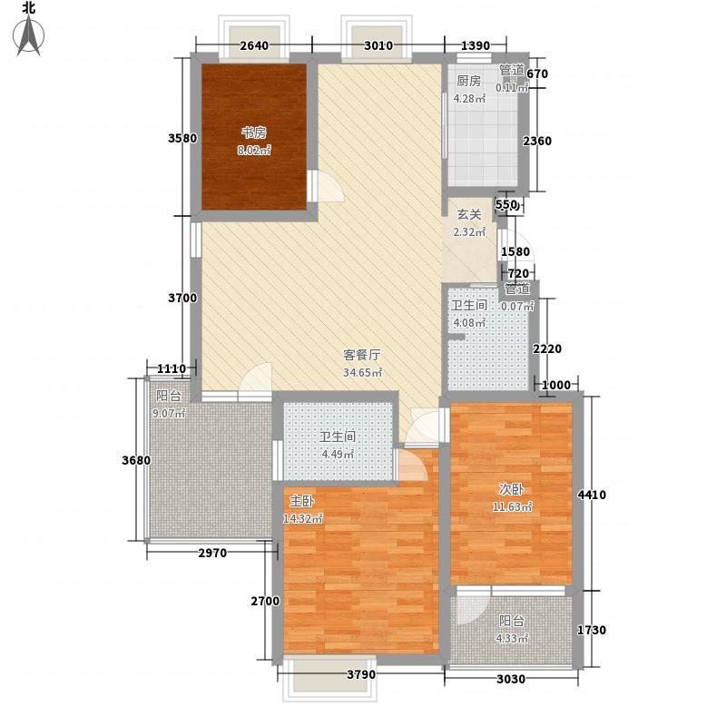 九曲花园135.00㎡322135户型3室2厅2卫