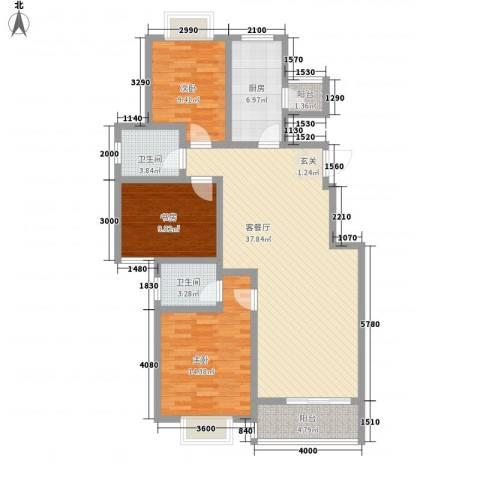 文化七村3室1厅2卫1厨168.00㎡户型图