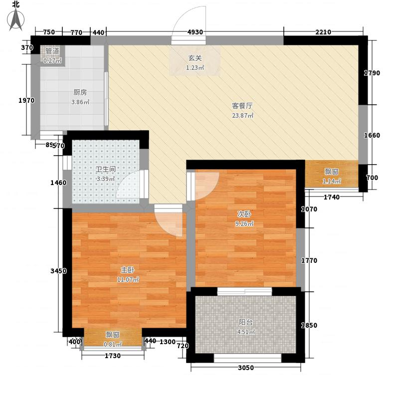 建海绿荫半岛81.40㎡高层32#-E3户型2室2厅1卫1厨
