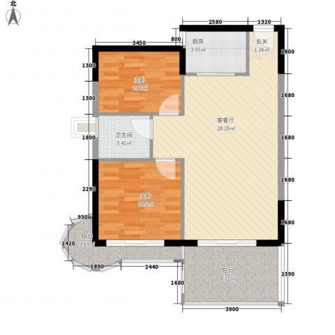 中天彩虹城2室1厅1卫1厨87.00㎡户型图