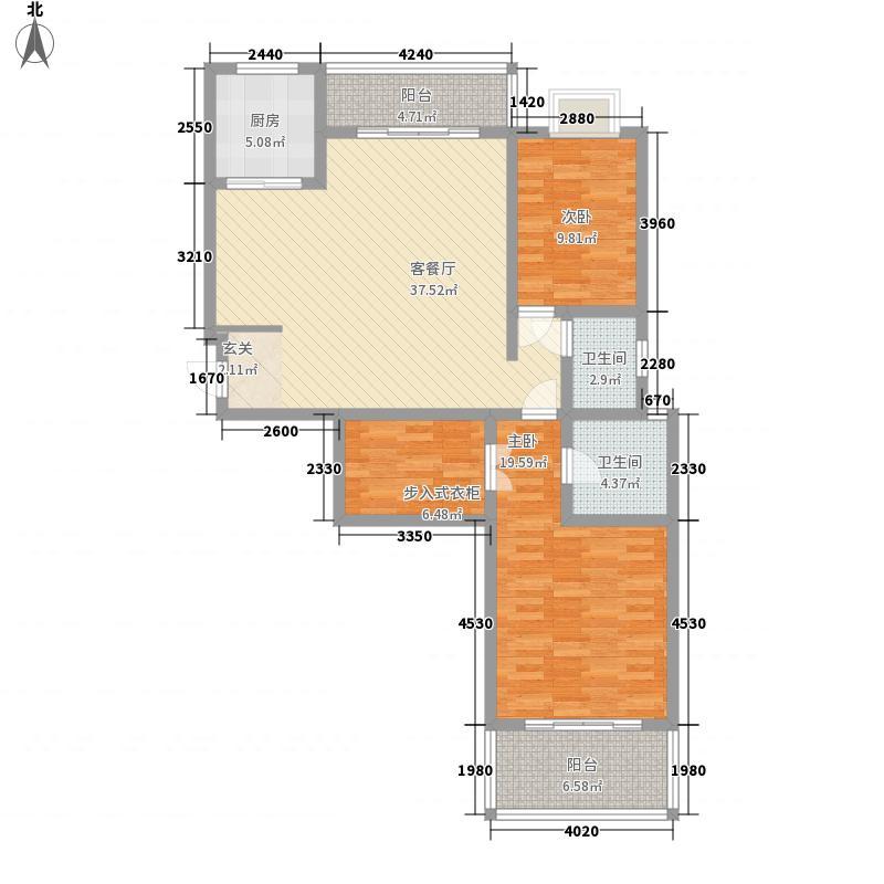盛德世纪家园二期小高层一号、二号楼标准层D户型