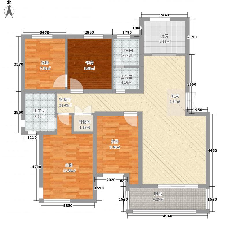 梅林春苑135.00㎡4室户型4室1厅1卫