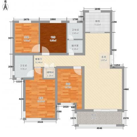 梅林春苑4室2厅2卫1厨135.00㎡户型图