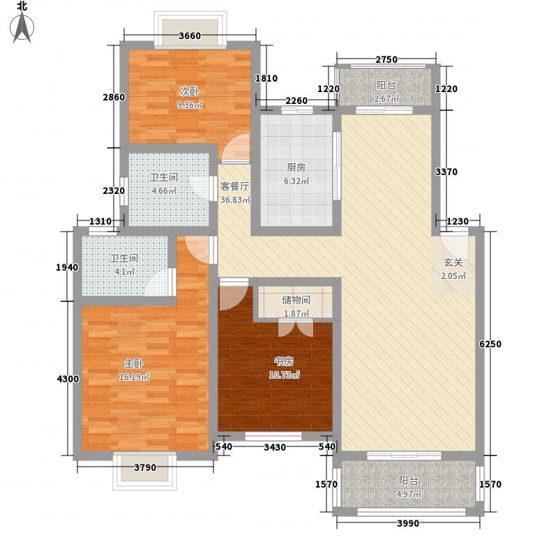 梅林春苑142.00㎡4室户型4室2厅1卫1厨