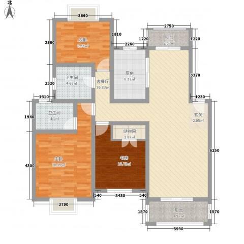 梅林春苑3室1厅2卫1厨142.00㎡户型图