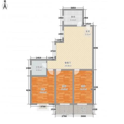 东昌盛新区3室1厅1卫1厨134.00㎡户型图