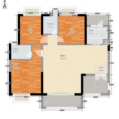 卓越东部蔚蓝海岸3室1厅2卫1厨133.00㎡户型图