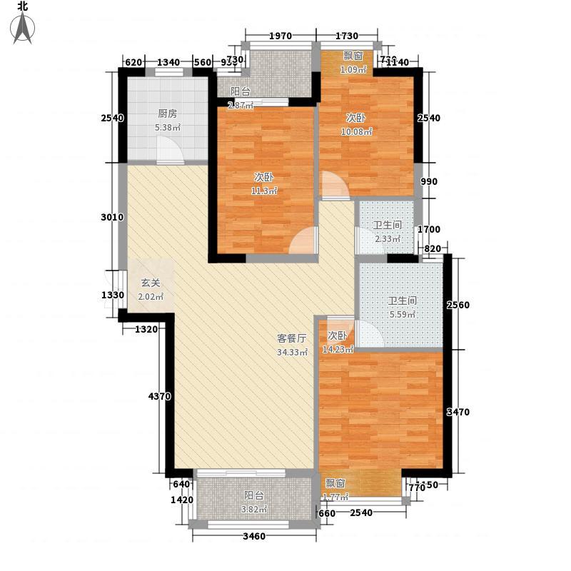升龙凤凰城127.50㎡B区G-2户型3室2厅2卫