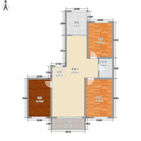 帝基江山别院3室1厅1卫1厨125.00㎡户型图