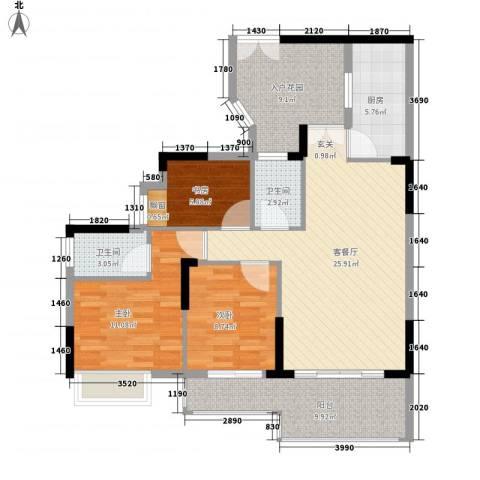宏新华庭3室1厅2卫1厨117.00㎡户型图