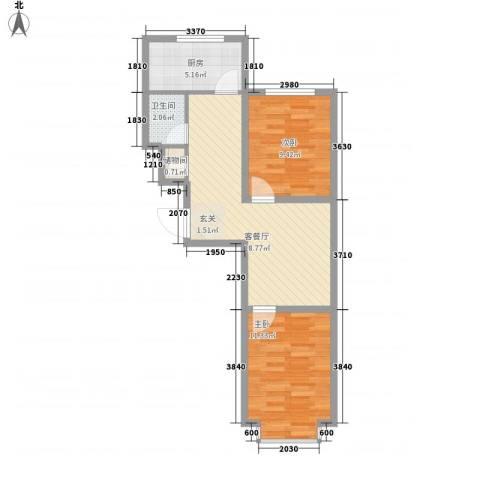 帝基江山别院2室1厅1卫1厨66.00㎡户型图