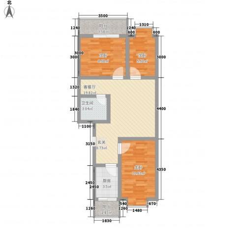 胜利新村3室1厅1卫1厨85.00㎡户型图