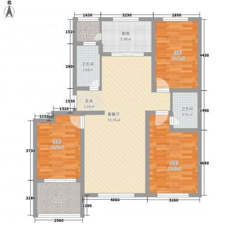 恒信西江月3室1厅2卫1厨127.00㎡户型图