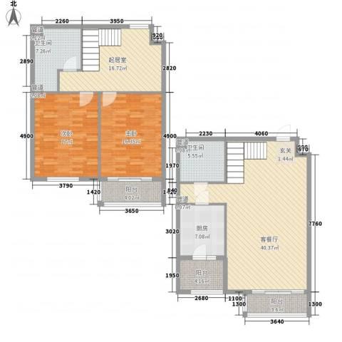 赋海世家2室1厅2卫1厨171.00㎡户型图