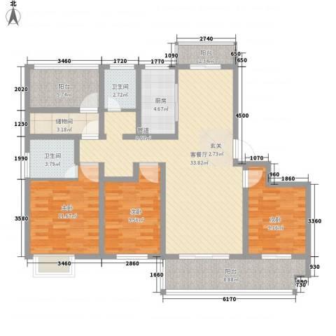 招商雍和苑3室1厅2卫1厨95.60㎡户型图