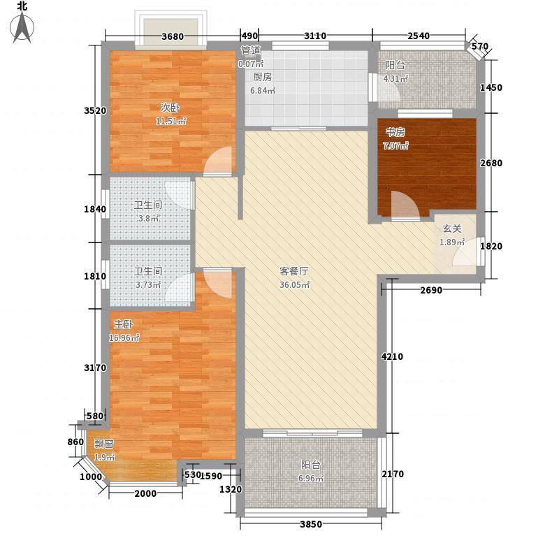 碧桂园凰城123.83㎡J476A户型3室2厅2卫1厨