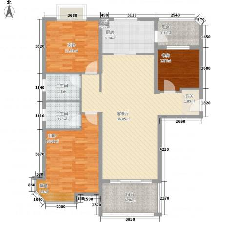 碧桂园凰城3室1厅2卫1厨124.00㎡户型图