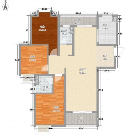世茂世界湾3室1厅2卫1厨138.00㎡户型图