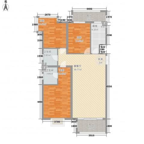 赋海世家3室1厅2卫1厨151.00㎡户型图
