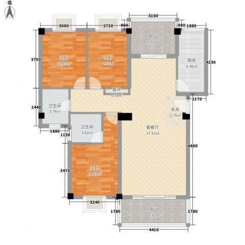 集美大学湾3室1厅2卫1厨136.00㎡户型图