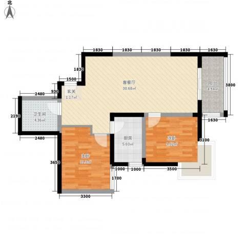 舟宿云庭2室1厅1卫1厨94.00㎡户型图